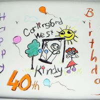 Cwkindergarten_40Th_Birthday.jpg Kindy logo drawn using food grade pastel chalk