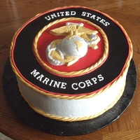 Usmc Cake   Cake for a young man going off to join the Marines. Chocolate insignia painted w/ luster dust.