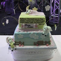 "Sheep Baby Shower 12"" and 9"" square french vanilla and lemon cakes with vanilla icing. A dowel rod supported the ""jumping"" sheep. TFL!"
