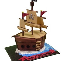 Arrr, Matey! Pirate ship for a child's birthday. The ship is based on the plates for the party!