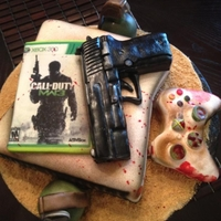 Modern Warfare 3 Xbox 360 Birthday Cake Console, controller, Sig P226 .40, 2 M67 Fragmentation Grenades...all edible. TFL
