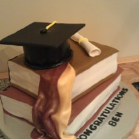 First Graduation Book Cake And Cap Graduation cake for a my friend's husband. Learned a lot from this one, it was a true challenge.