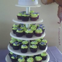 Cupcake Tower For A Baby Shower   To match the baby's bedding. This was fun to make and I love my new cupcake stand!!!
