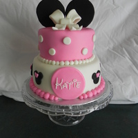 Mini Mouse Cake MMF covered cake with gumpaste ears and bow. Happy first Birthday Katie!