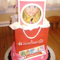 American Girl Doll Cake American Girl Doll cake based on the clients daughters doll. Bottom tiere decorated like the childs skirt. Shopping bag is also cake . Doll...