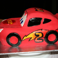 Lightning Mcqueen A sculpted cake for my little cousins 2nd Birthday!!All MMF with hand painted details. I used the number 2 instead of McQueen's acutal...