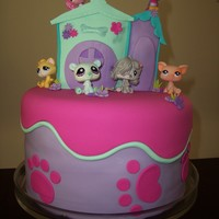"Littlest Pet Shop Cake  My Daughter's 5th Birthday cake. 10""vanilla cake (I added food colouring for a rainbow effect). A small carved cake for the..."