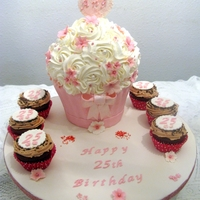 Big Cupcake Vanilla Cake with strawberry filling. Iced in SMBC