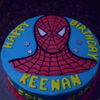 Spiderman Birthday Cake   Photo supplied by client...Vanilla cake with BC filling and frosting with fondant spiderman and letters.