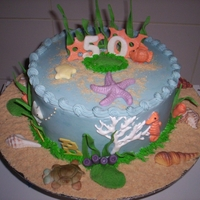 Aquarium Cake   Chocolate cake with caramel filling, BC frosting, with fondant sea animals,shells, reeds and crushed biscuits as sand.