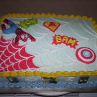 Spiderman Cake   Vanilla sponge with BC frosting, fondant spiderman and decorations