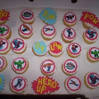 Spiderman Cupcakes   Vanilla cupcakes with fondant and edible image toppings