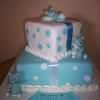 Brody's Christening Cake Chocolate cake with caramel filling, fondant covered with fondant bears...