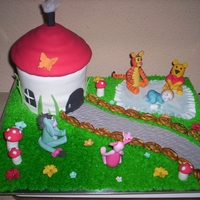 Vickie's Baby Shower Vanilla cake with BC and fondant covering, BC grass with fondant figurines and flowers.. used Pretzels for the fence.