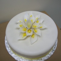 "Retirement Cake For A Co-Worker 14"" round yellow WASC cake with calla lillys"