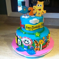 "Moose & Zee Inspired by 2 different cakes found through an internet search. 9""/6"" round, buttercream with fondant decorations. This was a lot..."