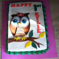 Owl Cake 9x13 sheet cake, buttercream with fondant decorations to match the invitations.
