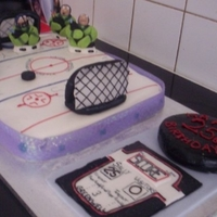 Ice Hockey Cake Ice hockey sheet cake with added characters, goals, puck and scoreboard or a friends birthday. Very heavy sheet cake