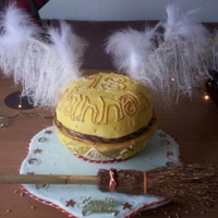 Golden Snitch From Harry Potter   Golden Snitch, Harry potter cake for a friend. Very heavy used to huge pudding basins and supports