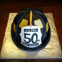 50Th Fire Helmet   fondant and modeling chocolate