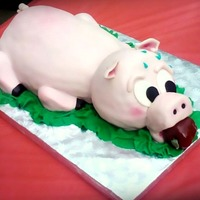 Pig Roast   red velvet cake all fondant :)