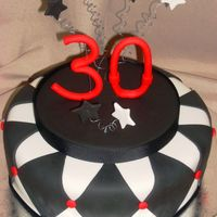 "Black, White And Red Themed Cake Birthday cake for young man turning the big ""30""!Hope you enjoy it..."