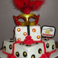 50 Never Looked So Good!   Purchased mask atop buttercream frosted cakes with fondant accents for a 50th birthday.