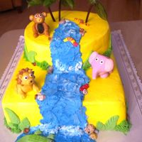 It's A Jungle Out There Wild about a 1 year old! Buttercream with fondant accents & animals