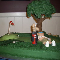 "'19Th Hole"" This cake was made for a golf outing. The tree is made from modeling choc, rice krispies and buttercream leaves. Man & golf bag made..."