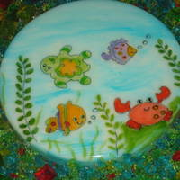 Ocean Wonders Gelatine Made out of gelatine and painted to a replica of the party theme.