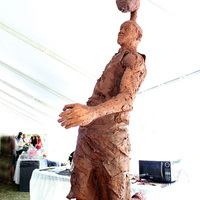 Life-Size Cake/chocolate Sculpture Tribute To Lebron James 9 1/2 feet tall sculpture made live in front of crowds over 3 days.
