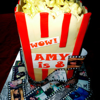 Popcorn Movie Birthday Cake I made this for my daughter's 8th birthday. Everything is edible minus the cake board :)
