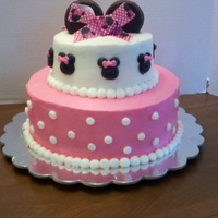 Minnie Mouse Cake Buttercream frosting with ding dong ears and ribbon for her bow.