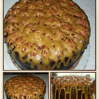 Chocolate Cararmel Delight   Chocolate cake with ganache,pecans and caramel filling topped with pecans and caramel.