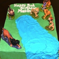 Lion King Birthday Two layer 9x13 scratch WASC with buttercream frosting.