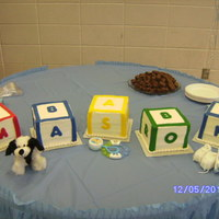 Mason's Baby Shower Baby blocks in different cake flavors. Iced in BC with Fondant letters.