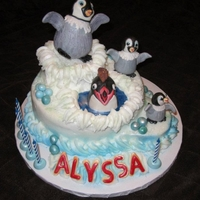 Alyssa's Happy Feet 2 Birthday Cake For my granddaughter's 5th birthday. She asks for her fav lemon cake with lemon pudding & raspberry jam filling every year! So...