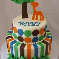 Jungle/polka Dot/stripe Baby Shower Cake