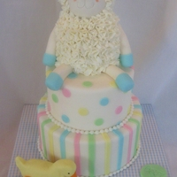 Lamb Baby Shower Cake this is a dummy cake I entered in our county fair