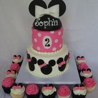 "Minnie Mouse Cake And Cupcakes 6/8"" combed buttercream Minnie Mouse cake and matching cupcakes"