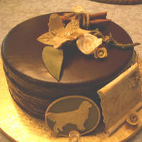 "Deborah's Chocolate Double Diablo Very special request from a client. Chocolate Diablo cake with ""To ---and ---"" on it and a couple of golden retrievers. This was..."