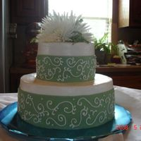 Bridal Shower Cake I did this cake to match the brides wedding dress. The cake is vanilla cheesecake with rasberry white chocolate filling. Iced in...
