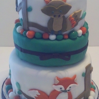 Woodland Animals Thanks KristyCakes for your inspiration for this cake. There was a topper on the cake that has a squirrel.
