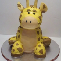 Giraffe Baby Shower   3D Giraffe. White cake with buttercream and fondant/gumpaste antlers and ears.