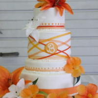 Wedding Cake buttercream frosting with different ribbons in orange.