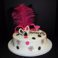 Girls Just Want To Have Fun 10 in round orange dream cake buttercream frosting with Fondant and Gumpaste accents