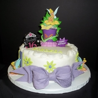 Think Tink   8 in yellow cake buttercream frosting fondant and gumpaste accents