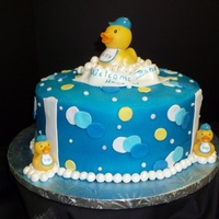 Rubber Duck 10 inch round chocolate cake buttercream icing fondant accents