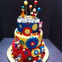 Mickey Mouse Club House 3 Tier Cake Vanilla, chocolate and red velvet, MMF, accents and gum paste ballons.