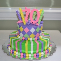 70Th Birthday Cake Buttercream with fondant accents!